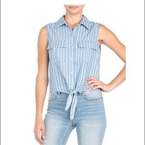 Miss Me Chambray Top NWT